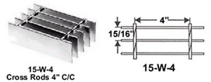 3 x 20 Steel Bar Grating, Serrated, Galv