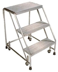 Aluminum 3 Step Ladder, Serrated Treads