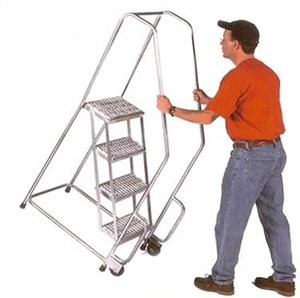 Aluminum 4 Step Tilt/Roll Ladder,Ribbed Treads