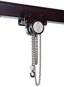 1/4 Ton Army Type Plain Trolley Hoist, 20 Ft Lift