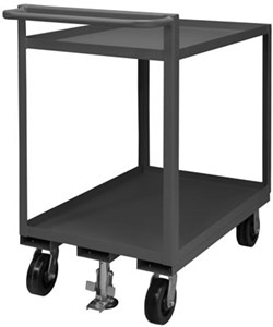 2 Shelf Stock Cart with Raised Handle, 1500 Cap
