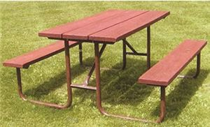 6' Picnic Table w/ Lumber, Galvanized Frame