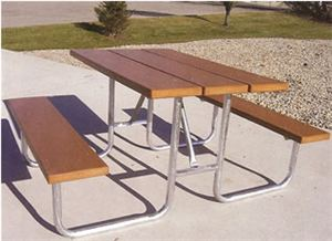 5' Recycled Plastic Table, Galvanized Frame