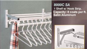 1 Shelf, Hook Strip & Hanger Bar, Satin Alum