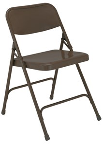 Steel Folding Chair, Brown (Qty of 4)