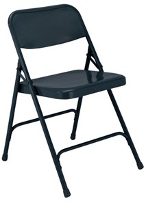 Steel Folding Chair, Char-Blue (Qty of 4)