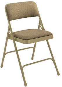 Beige Steel Fabric Folding Chairs (Qty of 4)