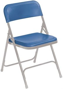 Blue Plastic Lightweight Folding Chairs (Qty of 4)