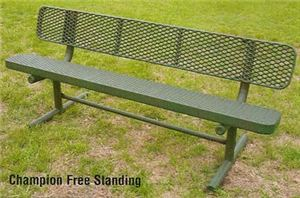 4' Champion Memorial Bench w. Back, Surface Mnt