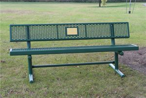 4' Bench w/Back, Memorial, Free Stand, Perforated