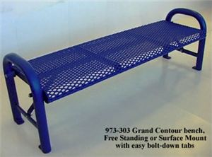 4' Contour Bench(No Back)Welded Rod,Surface Mnt
