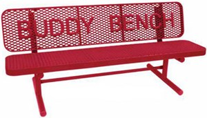 8'Buddy Sup Bench w/Back,Surface Mount,Perforated