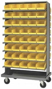 Dbl Sided Pick Rack, 16 Shelf Unit w/Bins