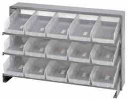 Bench Pick Rack Sys, 3 Shelf Unit w/Clear Bins