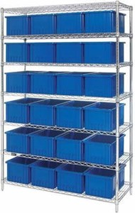 "Wire Shelving Unit w/Containers,24""x60""x74"""