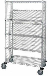 Enclosed Wire Slanted Shelf Cart,24 x 36 x 69