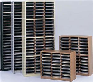 24 Compartment Literature Organizer,Med.Oak