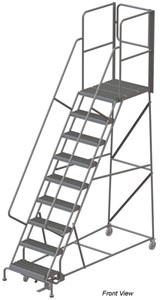 Rear-Exit Steel Rolling Ladder, Perforated Tread