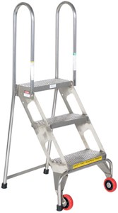4-Step Stainless Steel Folding Ladders-350 lb Cap
